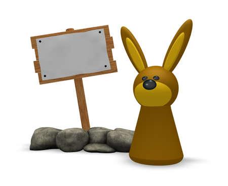 token: rabbit token and blank wooden sign - 3d illustration Stock Photo