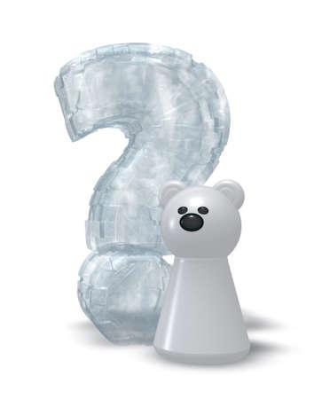 polar bear and frozen question mark - 3d illustration illustration