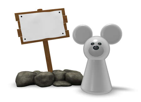 token: mouse token and blank wooden sign on white background - 3d illustration Stock Photo