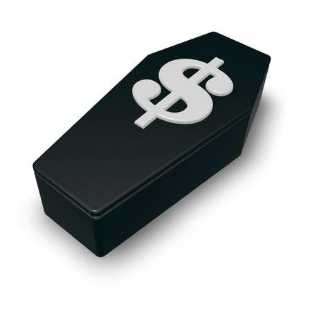 casket: casket with dollar symbol on white background - 3d illustration