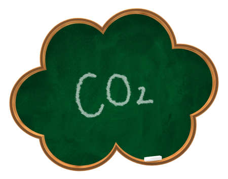 co2 tag on cloud shaped chalkboard - 3d illustration illustration