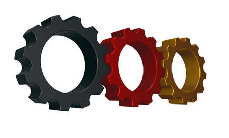 three gear wheels in german colors - 3d illustration illustration