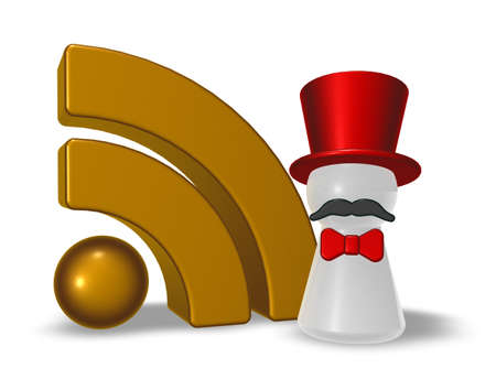 ringmaster and rss symbol on white background - 3d illustration illustration