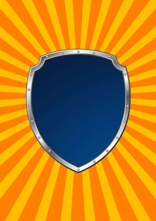 riveted: riveted metal shield on rays background - template illustration