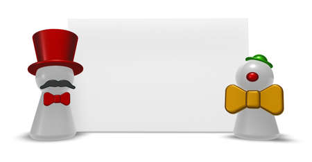 commentator: characters clown in front of blank white board - 3d illustration Stock Photo
