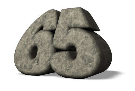 sixty: stone number sixty five - 3d illustration