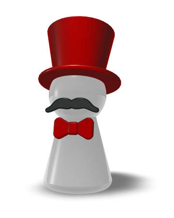 topper: ringmaster with red topper and bow - 3d illustration Stock Photo