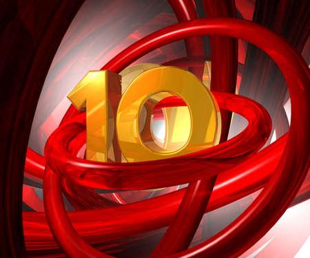 numero diez: el n�mero diez en la ilustraci�n de espacio futurista - 3d ilustraci�n