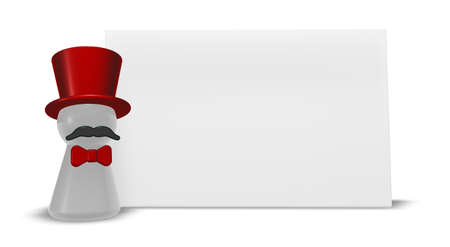 commentator: ringmaster with red topper and bow - 3d illustration Stock Photo