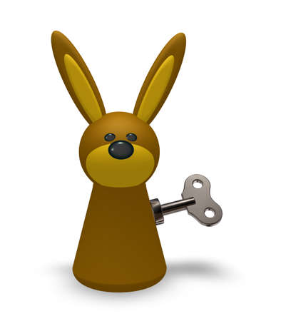 token: rabbit token with wind-up key on white background - 3d illustration