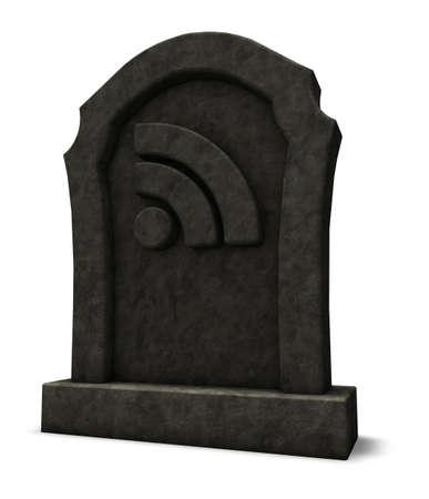 syndication: rss symbol on gravestone - 3d illustration
