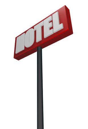 hospedaje: hotel sign sobre fondo blanco - ilustración 3d