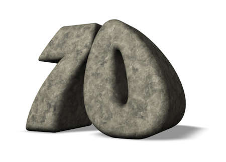 70 years: stone number seventy on white background - 3d illustration