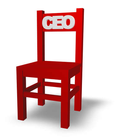 ceo: chair with ceo tag on white background - 3d illustration