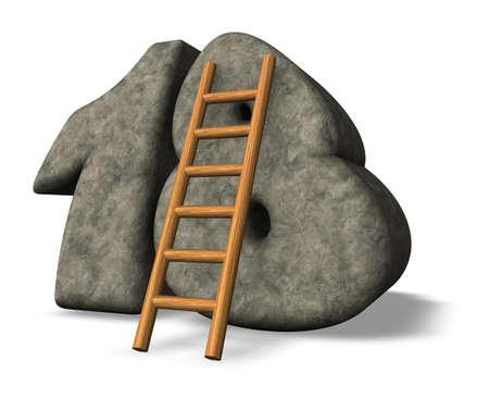 eighteen: ladder leans on stone number eighteen - 3d illustration Stock Photo