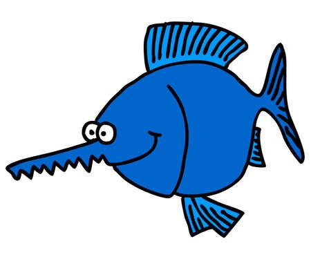sea saw: funny cartoon sawfish - illustration
