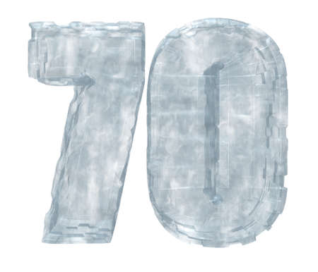 seventy: frozen number seventy on white background - 3d illustration