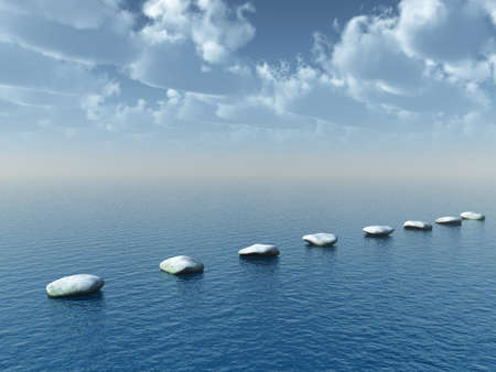 stone road: row of stones at water - 3d illustration Stock Photo