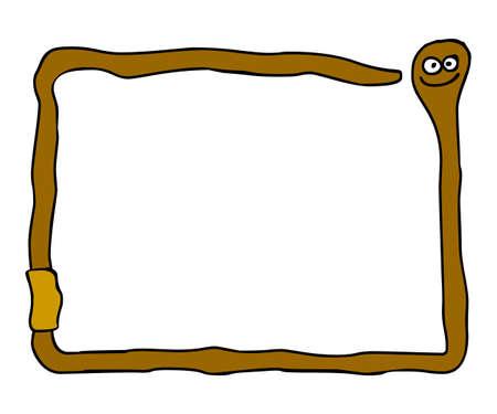worm snake: funny cartoon worm frame - illustration Stock Photo