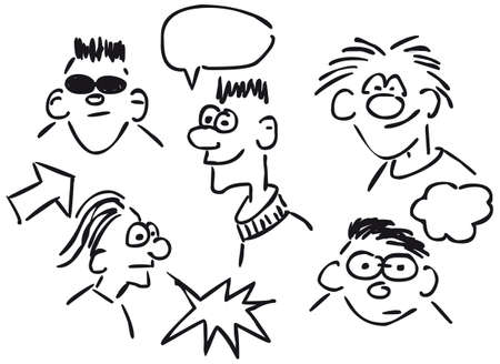 cartoon faces: cartoon faces on white background - sketch illustration