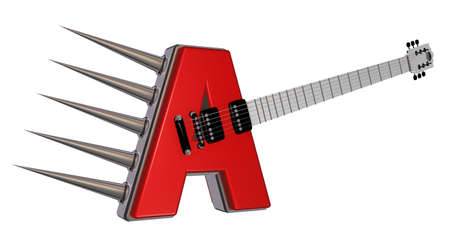prickles: letter a guitar with prickles on white background - 3d illustration