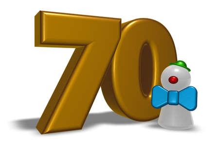 seventy: numero settanta e clown - illustrazione 3D Archivio Fotografico