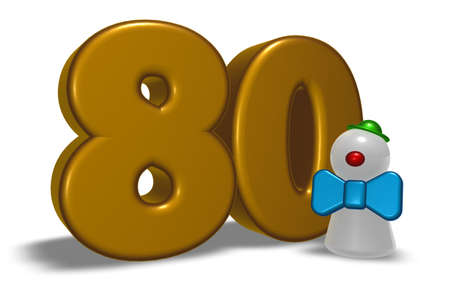 eighty: number eighty and clown - 3d illustration
