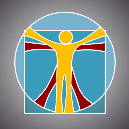Leonardo da Vinci vitruvian man symbol - illustration Zdjęcie Seryjne