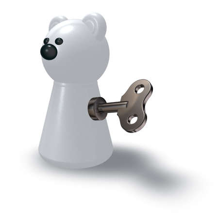 wind-up polar bear on white background - 3d illustration illustration