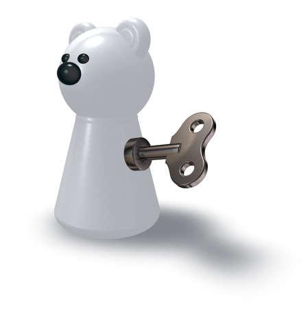 winder: wind-up polar bear on white background - 3d illustration
