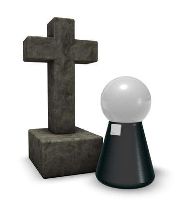 eenvoudig predikant figuur en christelijk kruis symbool - 3d illustratie