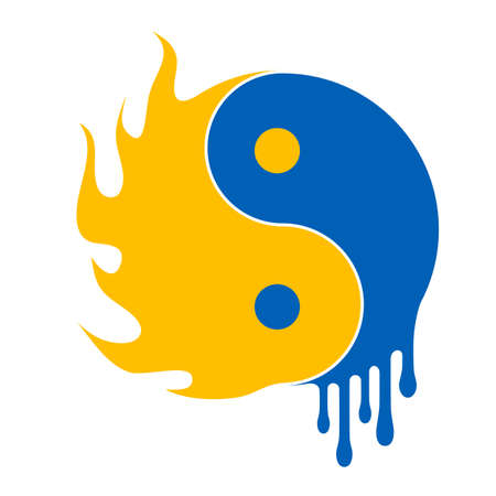 fire and water ying yang symbol - illustration illustration