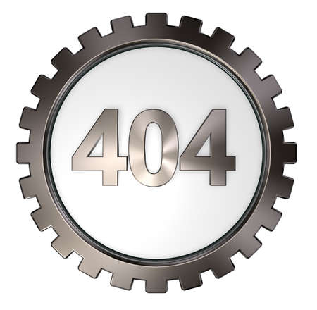 error 404 page not found - message and gear wheel - 3d illustration illustration