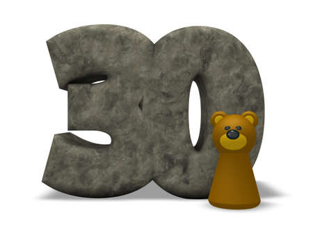 thirty: stone number thirty and brown bear - 3d illustration