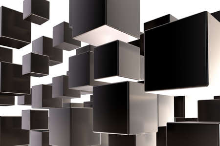 disharmony: cubes disorder on white background - 3d illustration