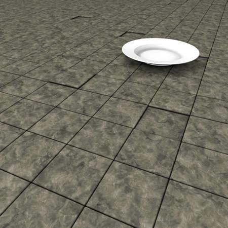 white dinner plate on stone surface - 3d illustration illustration