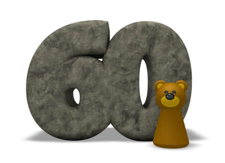 sixty: stone number sixty and brown bear - 3d illustration
