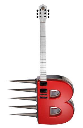 prickles: letter b guitar with prickles on white background - 3d illustration