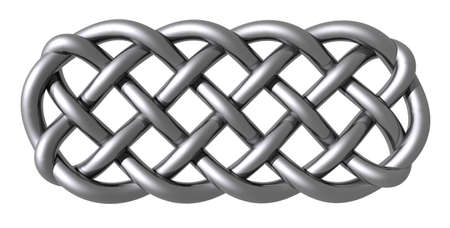 cult tradition: metal celtic knots on white background