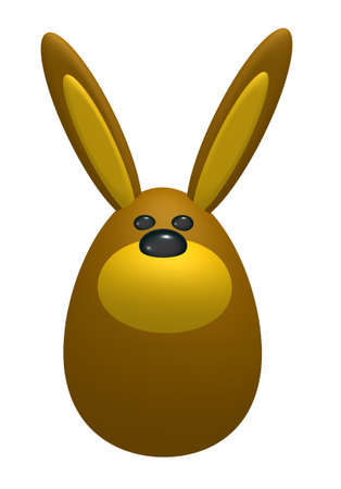 egg shaped: egg shaped bunny on white background - 3d illustration
