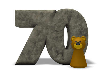 seventy: stone number seventy and brown bear - 3d illustration