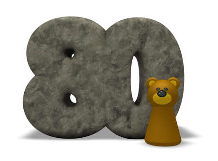 eighty: stone number eighty and brown bear - 3d illustration