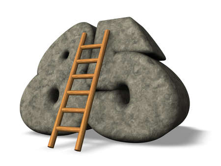 achtzig: Leiter lehnt auf Stein Nummer f�nfundachtzig - 3d illustration