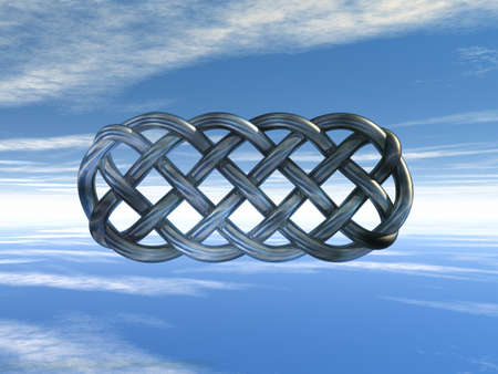 cult tradition: metal celtic knots under cloudy sky - 3d illustration Stock Photo