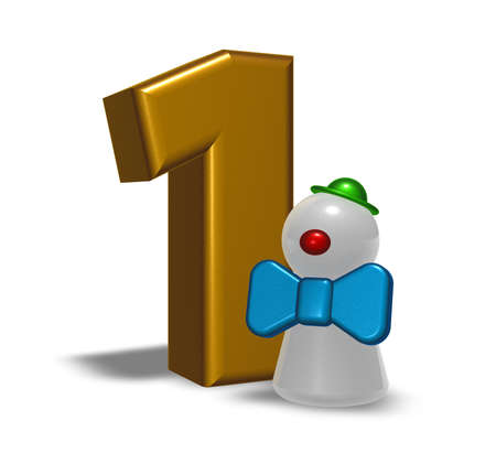 number one and clown - 3d illustration Stock Illustration - 21775323