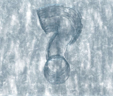 ice surface: ice surface with question mark shape - 3d illustration