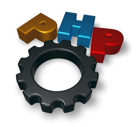 php tag and cogwheel on blue squared surface - 3d illustration illustration