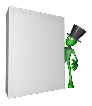 topper: green guy with topper and blank box - 3d illustration