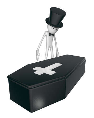 morbid: black casket whit christian cross and white guy with topper - 3d illustration