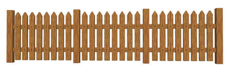 enclosure: wooden garden barrier on white background - 3d illustration
